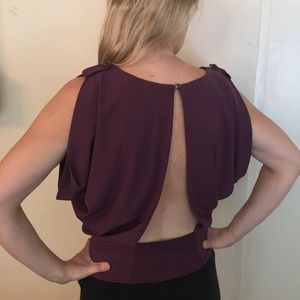 Open back berry purple blouse
